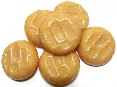 Caramel Tan Button Lot Vintage Large Plastic Cookie Design Coat Jacket Suit Sewing Crafts 1 3/8