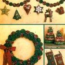 Christmas Decor Sewing Pattern Yo Yo Stocking Wreath Garland Holiday Tree Ornaments 6002