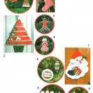 Christmas Decor Sewing Pattern Vintage Card Holder Santa Wall Stocking Gingerbread Ornaments 8721