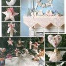 Victorian Christmas Decor Sewing Pattern Mantel Runner Angel Ribbon Centerpiece Lace Tree Skirt 7346