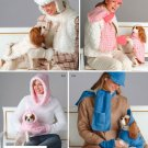 Women's Winter Hats Scarf Dog Clothing Sewing Pattern Ball Cap Rain Fudd Matching Pet Clothes 4316