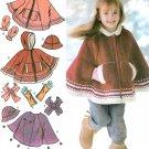 Girls Poncho Sewing Pattern Winter Jacket Hippie Hood Mitten Fingerless Glove Arm Warmer 3-8 4812