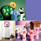 Animal Puppet Sewing Pattern Three Little Pigs Wolf Lamb Zebra Lion Elephant Farm Zoo 6671