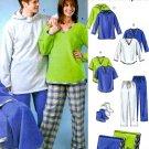 Easy Pant Hoodie Top Sewing Pattern Pullover Blanket Booties Fleece Pajama Unisex L XL 4675