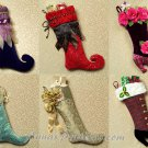 Christmas Stocking Pattern Shabby Victorian Curled Toe Jester Spat Handcrafted Holiday Decor 5261