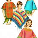Misses Poncho Sewing Pattern 1965 Vintage Hippie Hipster Pullover Fringed PomPoms 6852