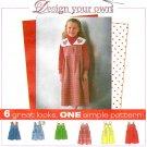 Girls Toddler Jumper Dress Sewing Pattern Easy Detachable Collar Applique 2 Lengths 3-6 8256