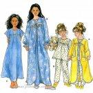 Girls Pajama Robe Sewing Pattern Top Gown Pants Sleepwear Toddler 3 4 5 6 8488