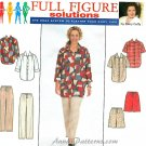 Plus Size Pant Shirt Pants Sewing Pattern Shorts Easy Button Front Shirt Pull On Slacks 26-32 8173