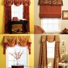 Valance Drapes Sewing Pattern Empire Swag Pull Shade Cornice Panels Curtains Window Treatments 5675