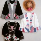 Sweatshirt Jacket Applique Pattern 3 Designs Flower Lace Oriental Fan Patchwork Easy