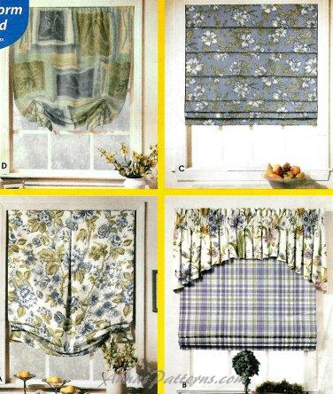 Easy Window Shades Sewing Pattern Roman Folded Pleated Balloon Festoon Topper Treatments 9986