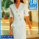 Skirt Top Sewing Pattern Vintage Retro Asymmetrical Front Princess Seams Easy 12-16 6885