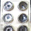Vintage Metal Buttons Distressed Pewter Holland Set 6 Carded Silver Black Antique 1 1/4 Inch