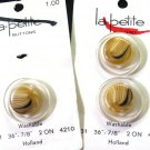 La Petite Vintage Buttons Clear Stacked Tan Caramel Celluloid Card 7/8 Metal Shank Holland Lot 3