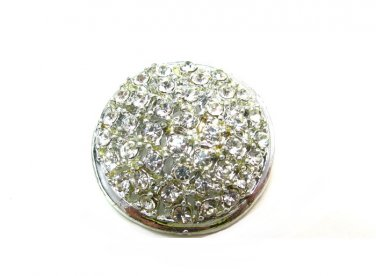 Round Rhinestone Metal Button Vintage Silver Pave Glass Stones Large 1 Inch Coat Jacket Craft Sewing