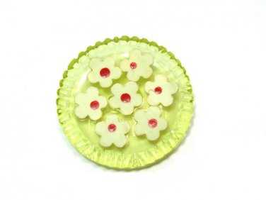 Celluloid Daisy Button Yellow Flowers Hand Painted Carved Large Jacket Coat Craft Sewing 1 1/4 Inch