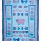 Lamb Hearts Baby Quilt Sewing Pattern Infant Girl Blanket Bedding Handcrafted Nursery