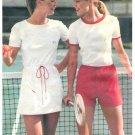 Tennis Dress Shorts T-shirt Sewing Pattern Vintage 70s Chris Evert Easy Drawstring 10 5378