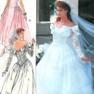 Off Shoulder Wedding Dress Sewing Pattern Bride Train Cinderella Princess Fitted Vintage 12-16 3513