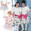 Girls Drop Waist Dress Sewing Pattern Ruffle Fitted Bodice Short Pouf Sleeve Vintage 7-10 3750