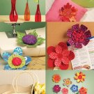 Fabric Flowers Sewing Pattern Dimensional Pincushion Leaf Crafts Accents Pillows Wall Vase 5869