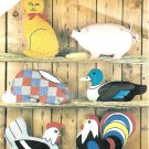 Vintage Sewing Pattern Farm Animals Cat Pig Rabbit Duck Hen Rooster Pillows Stuff Toy Display 5684