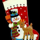 Sultana Vintage Christmas Stocking Kit Snow Pals Snowman Rudolph Felt Embroidery Holiday DIY Decor