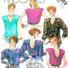 Cowl Drape Neck Top Blouse Sewing Pattern Extended Shoulder Disco Sexy Fit Vintage 10/12 2803