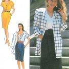 Misses Dress Unlined Jacket Sewing Pattern Easy Boxy Loose Fit Broad Shoulder Vintage 80s 6-14 9511