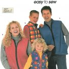 Easy Vest Sewing Pattern Zipper Front Fleece Quilt Ski Winter Outerwear Unisex Youth Adult Size 9344