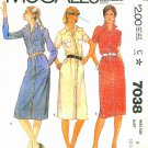Misses Shirt Dress Sewing Pattern Vintage Button Snap Front Long Short Sleeve Yokes 6 7038