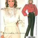 Linda Evans Blouse Pants Sewing Pattern Mandarin Collar Ruffle Peasant Pirate Pleats Vintage 12 9032
