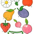 McCall's Vintage Applique Patterns Transfers Daisy Apple Pear Strawberry Plum Peach 1961
