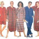 Pajama Sewing Pattern Unisex Nightshirt Top Pant Shorts Easy XS-M 3034 Lounge Casual Sleepwear