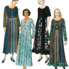 Misses Dress Sewing Pattern Gored Panel Skirt Hippie Boho Long Short Sleeve 4-14 8902