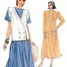 Drop Waist Dress Sewing Pattern Vintage Vogue Broad Shoulder Full Skirt Vest Plus 18-22 9257