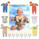 Baby Romper Sew Pattern Bib Hat Boy Girl Applique Bear Star Rabbit Heart Short Long Footed NB-L 7827