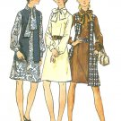 A-line Shift Dress Sewing Pattern Vintage 60s Neck Scarf Tie Long Vest Above Knee 10 5982