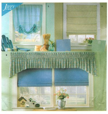Window Treatment Sewing Pattern Roman Shades Flat Hobbled Gathered Valance Swag Toppers 8353