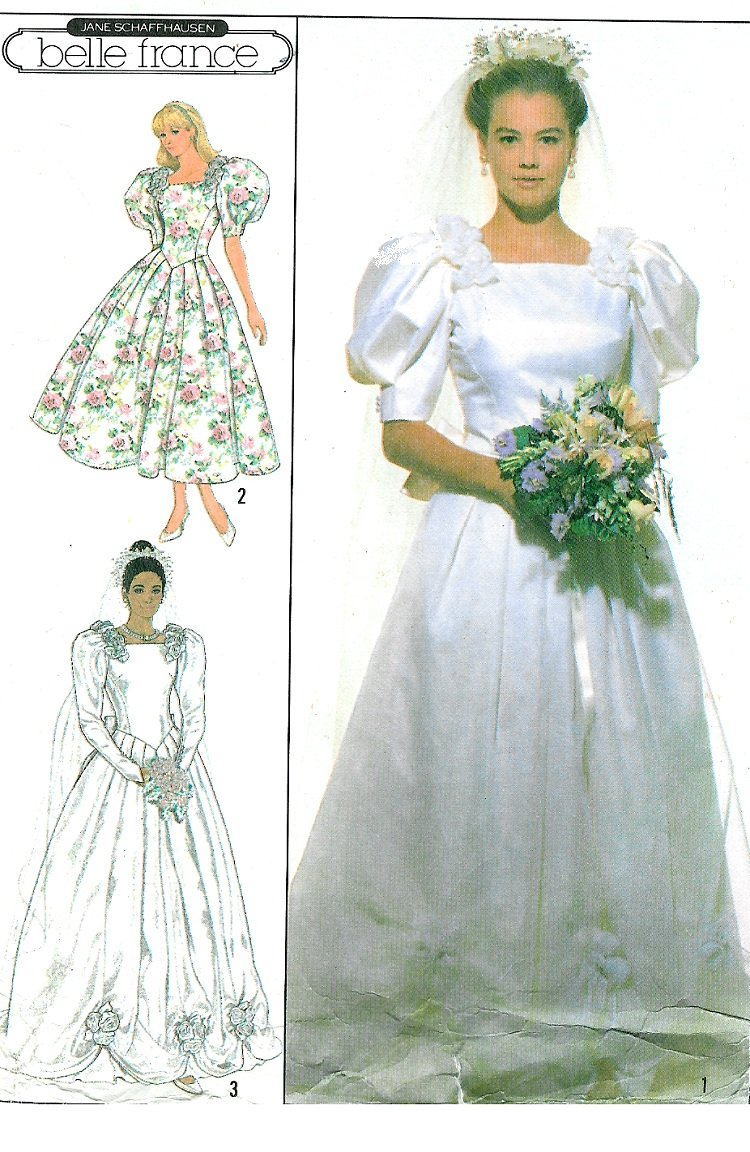 055b88d484a Vtg Wedding Gown Sewing Pattern Princess Dress Fitted Bodice Roses Short  Long Puff Sleeve 10 9051