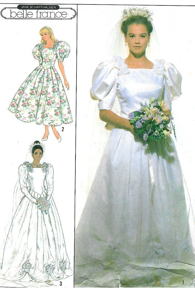 Vtg wedding gown sewing pattern princess dress fitted for Sewing patterns wedding dress