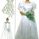 Vtg Wedding Gown Sewing Pattern Princess Dress Fitted Bodice Roses Short Long Puff Sleeve 10 9051