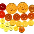 Bakelite Button Lot Vintage Coat Carved Flower Caramel Butterscotch Red Orange Apple Juice