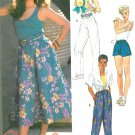 Easy Pull On Pants Sewing Pattern Skirt Shorts Clam Digger Capri Vintage 10 12 14 9576