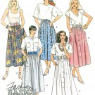 Full Gathered Skirt Sewing Pattern Below Knee Button Front Swing Easy Vintage 14/16 4318