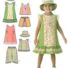 Girls Toddler Wardrobe Sewing Pattern Dress Tunic Shorts Skort Capri Spring Summer 1-4 4714