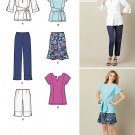 Tunic Tops Sewing Pattern Crop Pant Capri Skirt Peasant Blouse Long Short Sleeve 8-16 2194