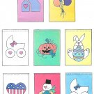 Garden House Flags Banners Sewing Pattern Balloons Baby Heart Snowman Easter Bunny Halloween 5405