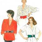 Vintage Vogue Sewing Pattern Loose Blouse Button Front Lapel Shirttail Extended Shoulder 12-16 8695
